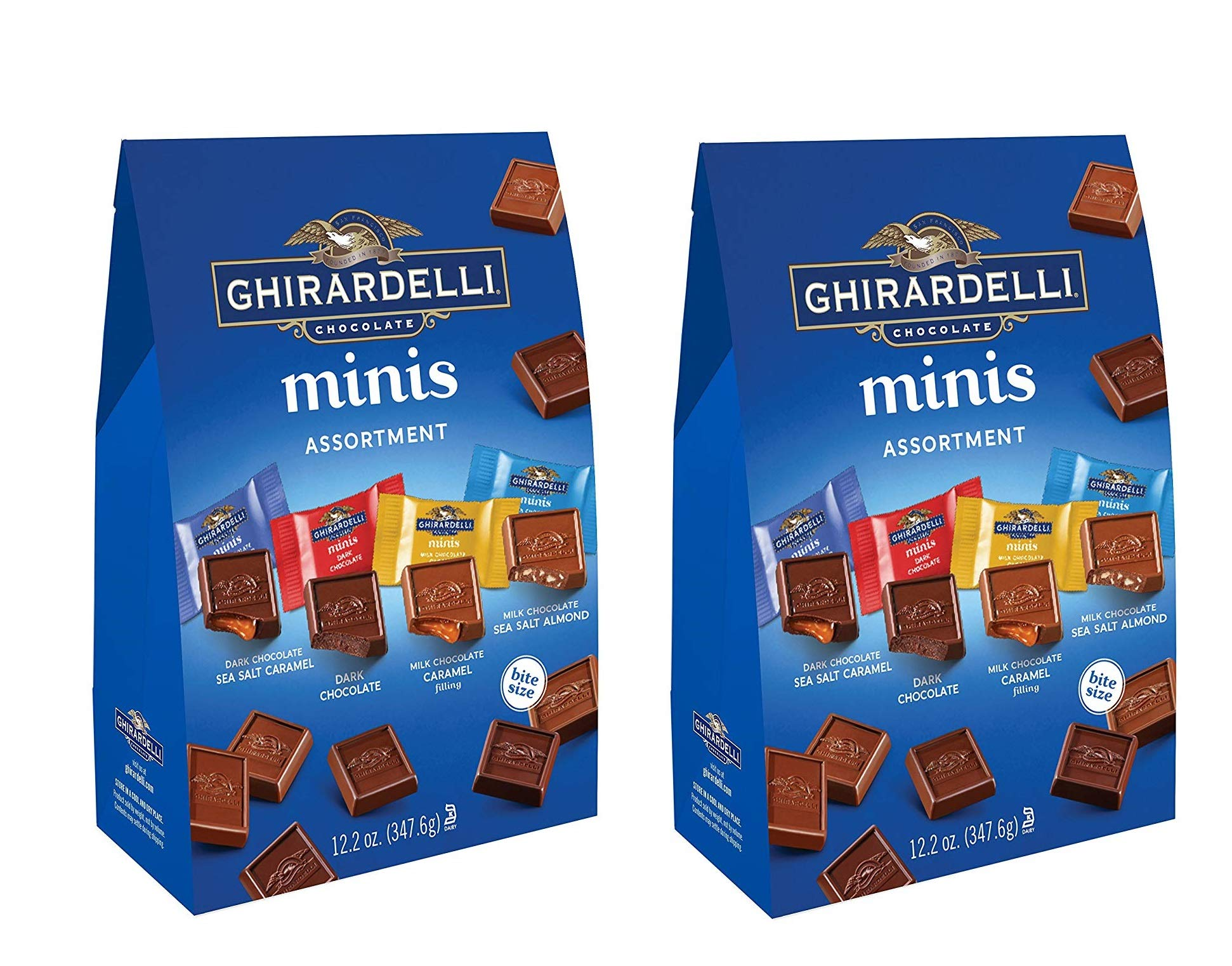 Ghirardelli Assorted Mini Squares Pouch, 12.2 Ounce, X-Large 2 PACK by Ghirardelli
