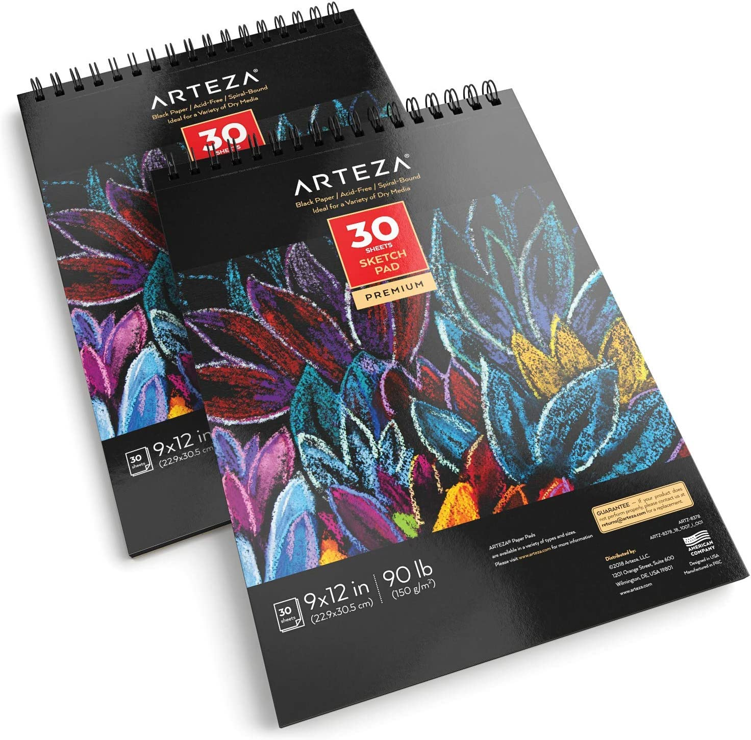 "Chalk 30 Sheets Each ARTEZA 9X12/"" Black Sketch Pad Charcoal Ink Pack of 2 Heavyweight Paper Perfect for Graphite /& Colored Pencils Spiral-Bound 90lb//150gsm 60 Sheets Oil Pastels Gel Pens"