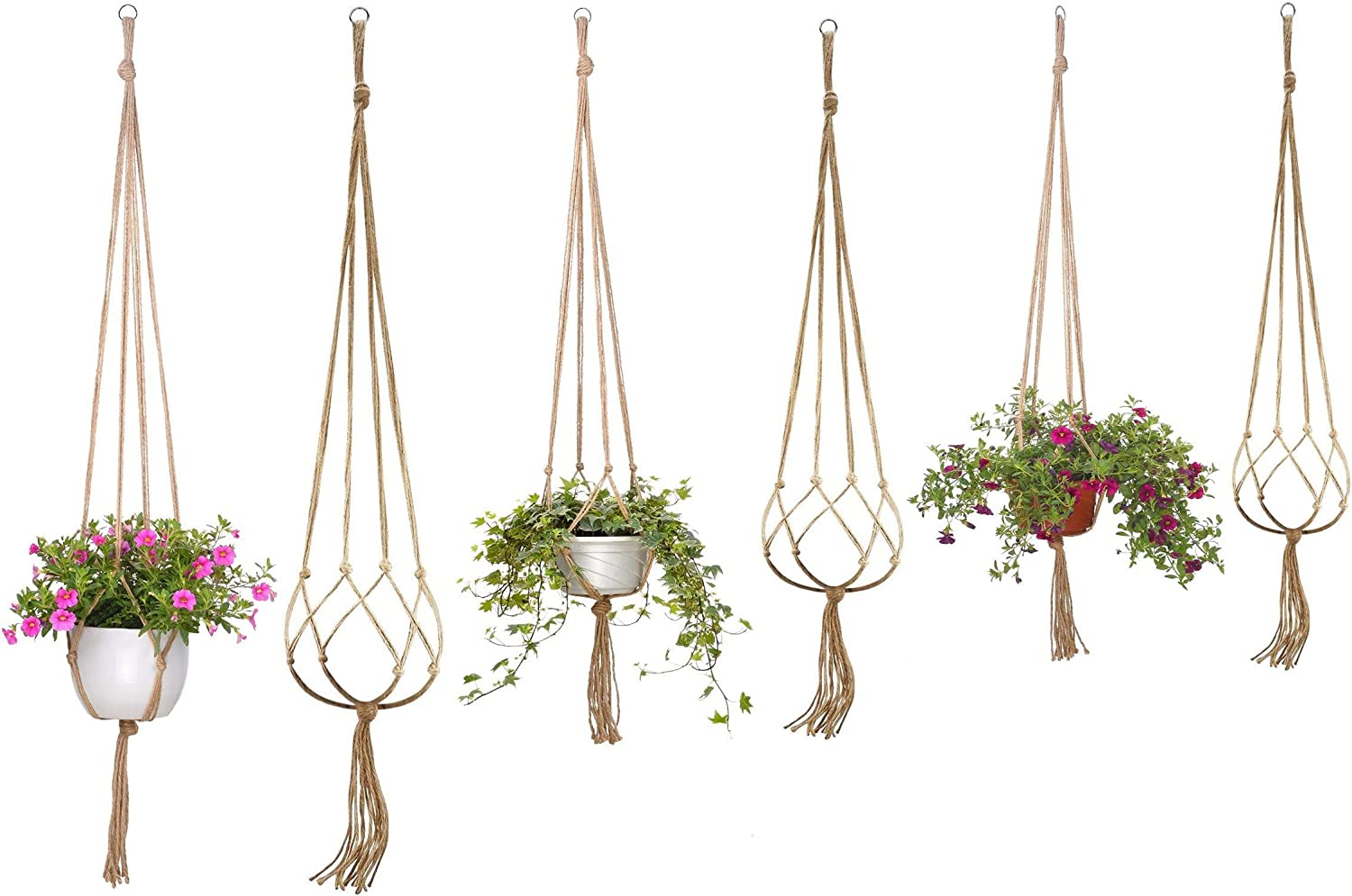 "Onwon Macrame Plant Hanger Basket Liners with Country Style Natural Jute, Elegant for Home Garden, Patio and Office, Indoor & Outdoor Decoration, ONLY Hanger, NO Plant or Pot (6, 48"", 41"", 35"")"