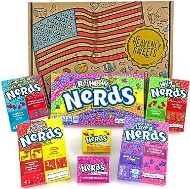 Heavenly Sweets Dulces Nerds Cesta Caramelos - Selection Americana, Rainbow Nerds, Nerds Mini Boxes, Laffy Taffy - Regalo Cumpleaños, Navidad, Día de San Valentín, Pascua - Pack de 25x18x2,5cm: Amazon.es: Alimentación y