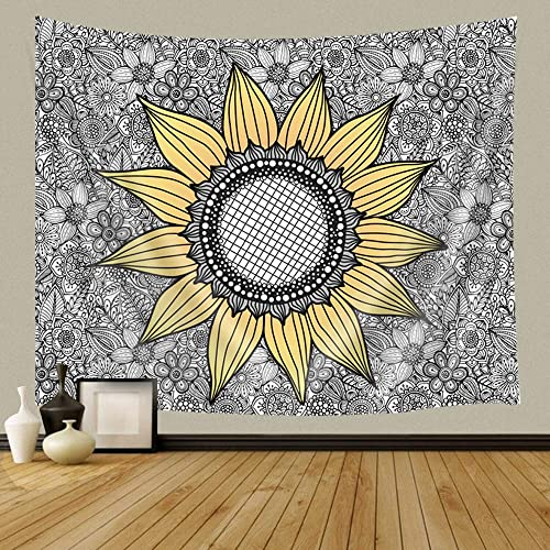 JAWO Sunflower Tapestry Wall Hanging, Sunflower on Floral Mandala Background, Polyester Fabric Wall Tapestry for Home Living Room Bedroom Dorm Decor 90W X 70L Inches