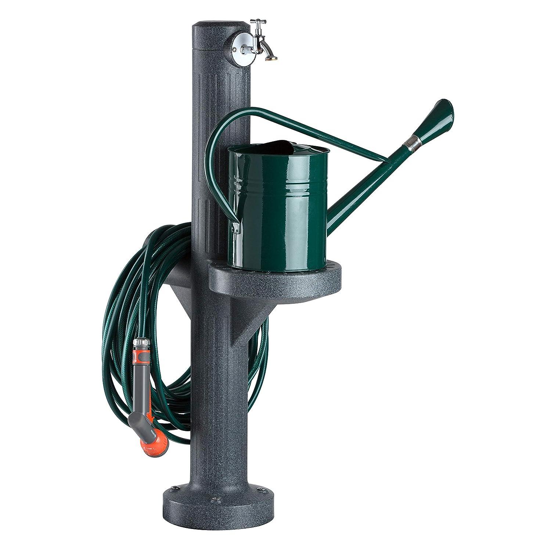 Wasserzapfstelle anthrazit Wasserentnahmestelle Premium black granit aus hochwertigem Kunststoff mit Wasserhahn Die Wasserzufuhr erfolgt /über ein handels/übliches Schlauchstecksystem auf der R/ückseite