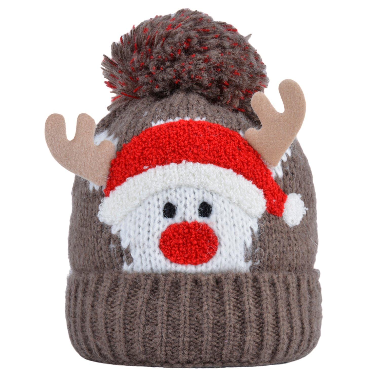 Weihnachtshut Baby M/ütze M/ädchen Junge Netter Weihnachtsmann Elk Horn Kinder Winter Strickm/ütze M/ützen Kappe Wolle H/üte mit Pom Fascigirl Baby M/ütze