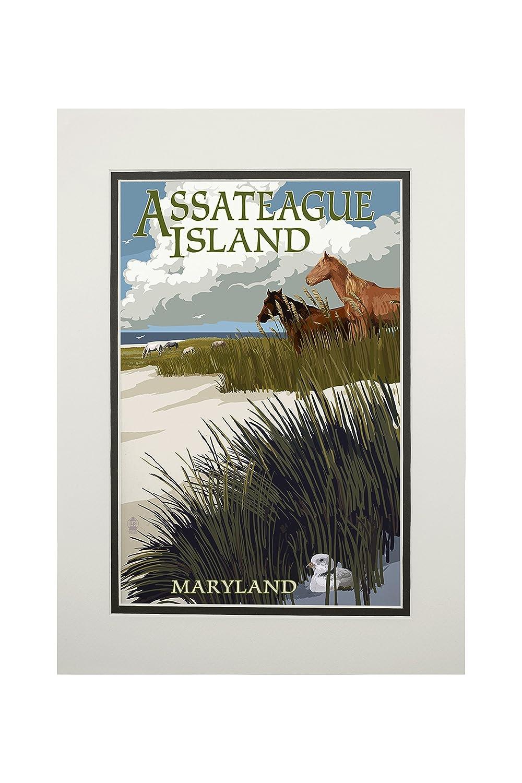 最高級 Assateague島、メリーランド州 14 – Horses 14 and Dunes Sign 12 x 18 Metal Sign LANT-43987-12x18M B06XZYX3F6 11 x 14 Matted Art Print 11 x 14 Matted Art Print, ヒシカリチョウ:eb98a542 --- 4x4.lt