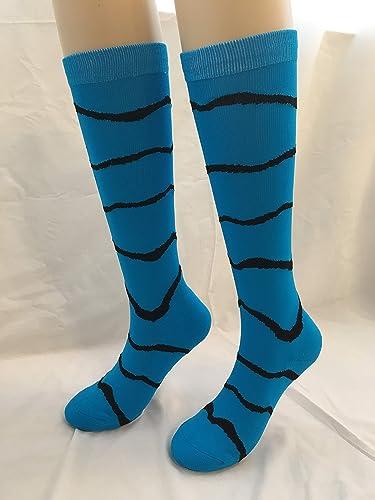 Youth Girls Softball/Volleyball Socks - Zebra (Blue, Medium)