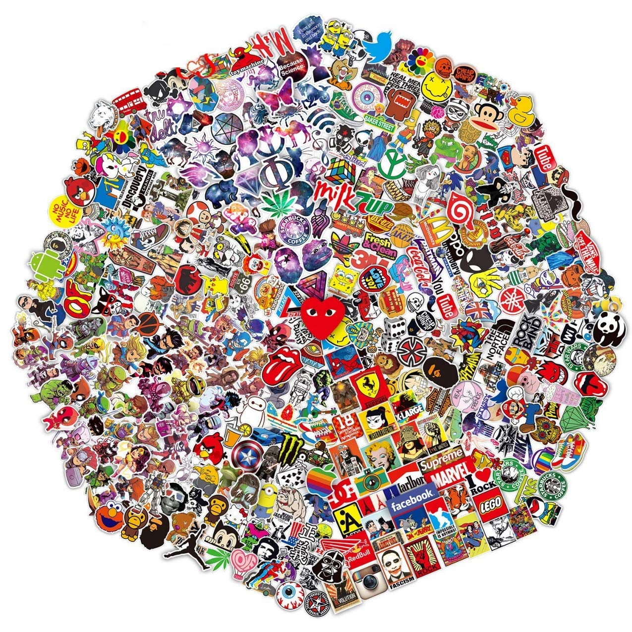 700Pcs Random Sticker(50~1100 Pcs),Fast Shipped by Amazon. Vinyls Decals for Laptop,Cars,Motorcycle,Bicycle,Skateboard,Luggage.
