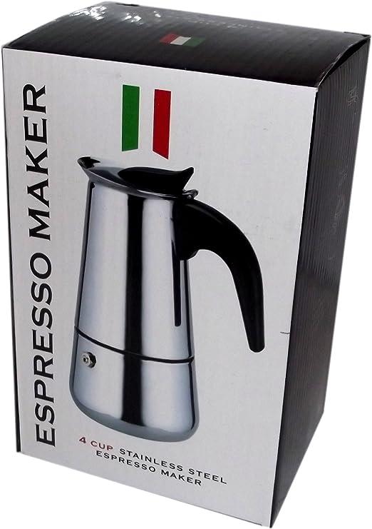 Espresso Maker - Cafetera italiana de acero inoxidable, capacidad para 4 tazas: Amazon.es: Oficina y papelería