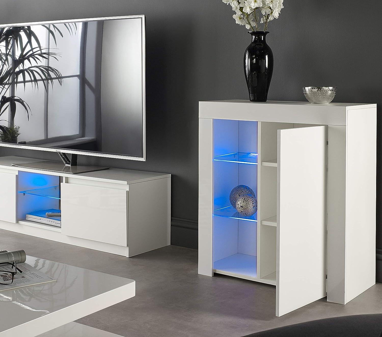 Mmt Furniture Designs Ltd Credenza Moderna Per Buffet Con Luci A Led Colore Bianco Opaco Lucido Bianco Small Amazon It Casa E Cucina