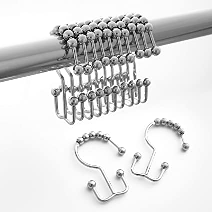 Shower Curtain Hooks Double Glide Rings Stainless Steel Set Of 12 For Bathroom