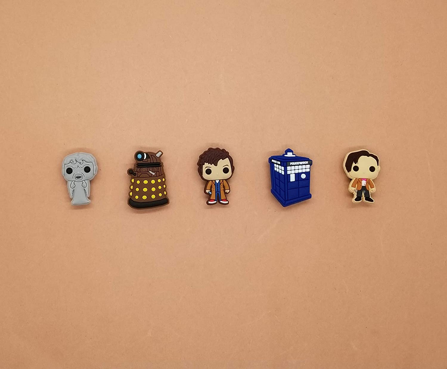 Doctor Who Croc Shoe Charms Wristband Charms Shoe Lace Adapter Charms Generic Handmade Set of 5
