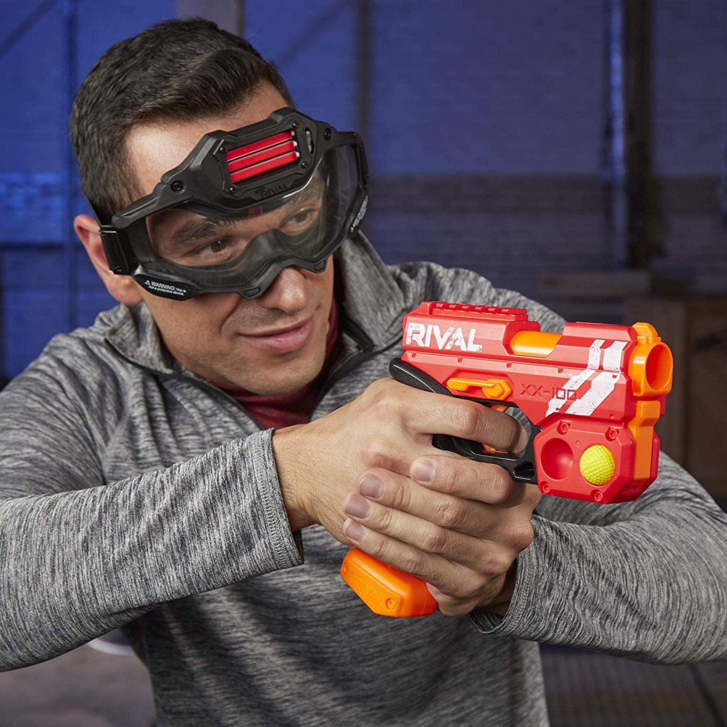 90 FPS Velocity Breech Load Blue and Red Bundle Includes 2 Official Rival Rounds Per Blaster Round Storage NERF Rival Knockout XX-100 Blaster