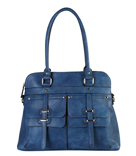 Rimen & Co. PU Leather Double Front Pockets Two Top Handle Zipper Closure Casual Hobo Satchel To...