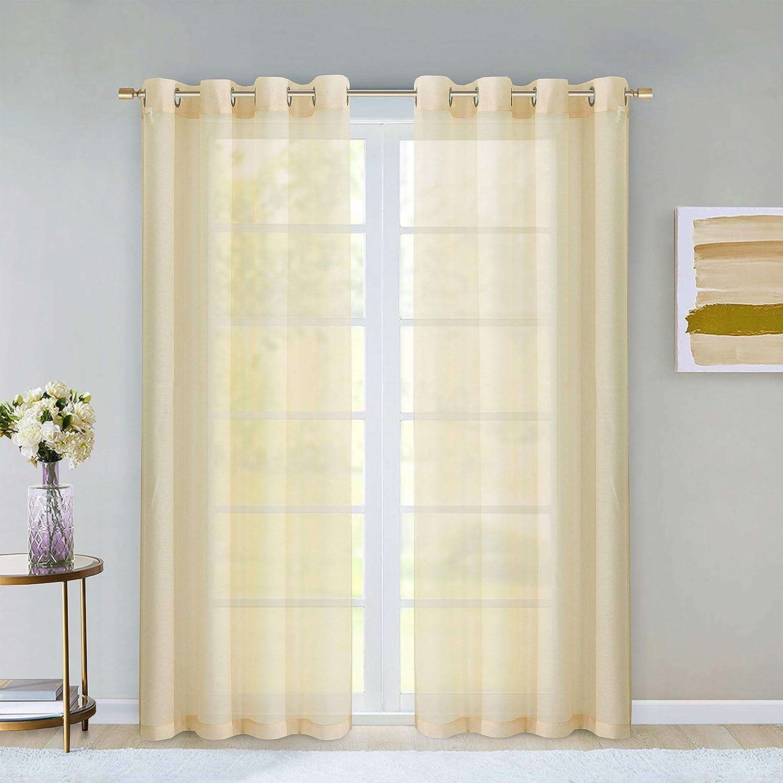 Dainty Home Malibu Textured Semi-Sheer Linen Look Grommet Top Curtain Panel Pair, 54