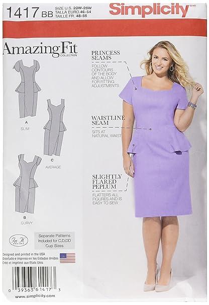 Amazon.com: Simplicity Amazing Fit Pattern 1417 Women\'s ...