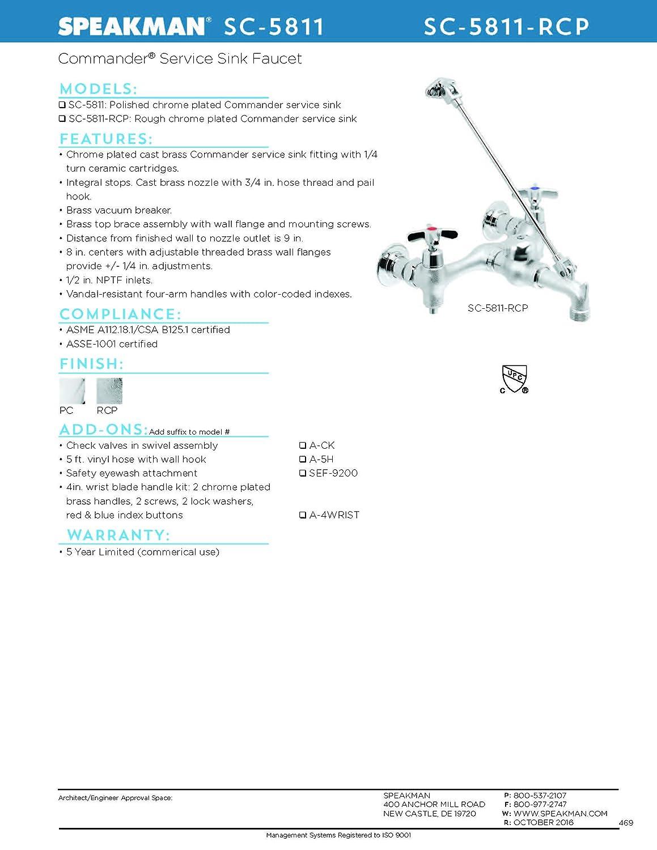 Amazon.com: Speakman SC-5811-RCP Servicio Comandante llave ...