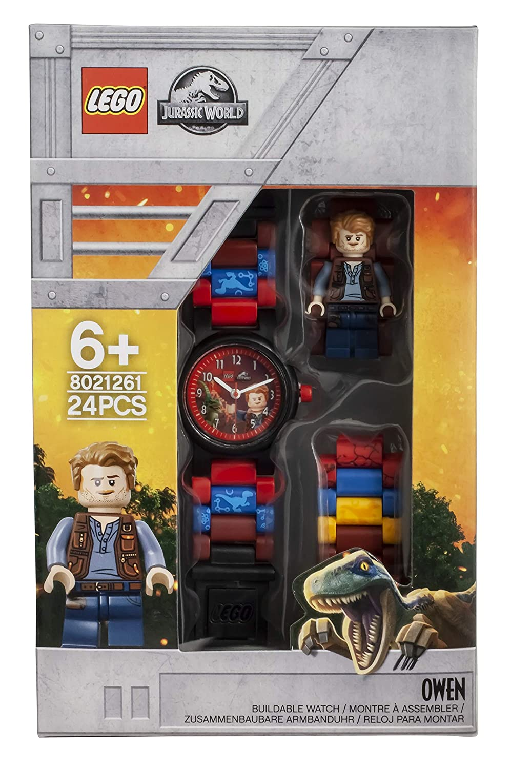 Amazon.com: LEGO Watches and Clocks Boys Jurassic World Owen Quartz Plastic Watch, Color:Red(Model: 8021261): Watches