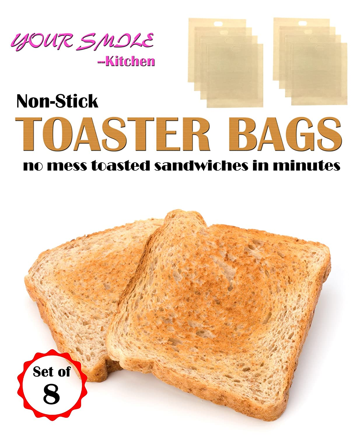 by YOUR SMILE 100/% Non Stick and Reusable Easy To Clean Perfect For Sandwiches Hot Dogs Chicken Fish Vegetables Panini /& Garlic Toast LONGRIVER 17050801 Toaster Bags Set of 8