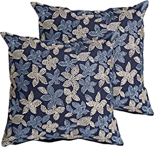 MOTINI Decorative Square Throw Pillow Covers Set Blue Embroidered Floral Cushion Covers Accent 100% Cotton Cozy Cushion Cases Textured Pillowcases - Pack of 2-18
