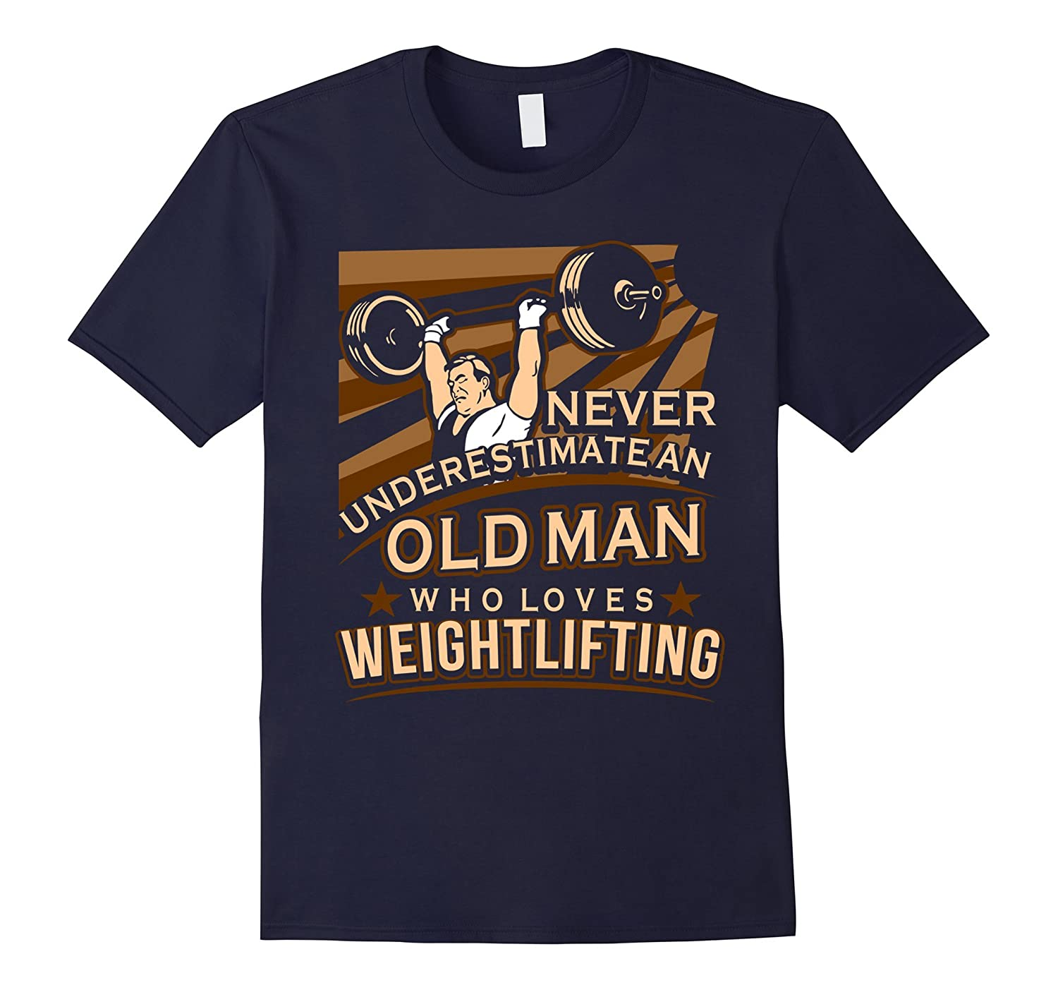 Mens An Old Man Who Loves Weightlifting T-Shirt-TJ
