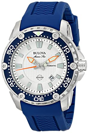 amazon com bulova men s 98b208 stainless steel automatic watch bulova men s 98b208 stainless steel automatic watch blue rubber band