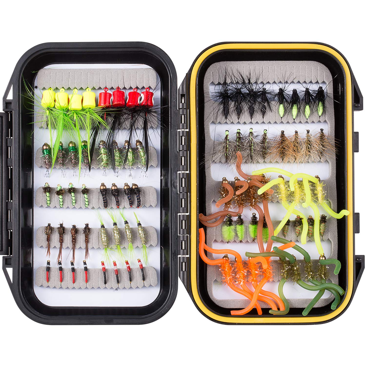 Bassdash Fly Fishing Flies Kit Fly Assortment with Fly Box, 36/64/72/80/96pcs with Dry/Wet Flies, Nymphs, Streamers, etc. (80 pcs Assorted Flies kit with Waterproof Fly Box) by Bassdash