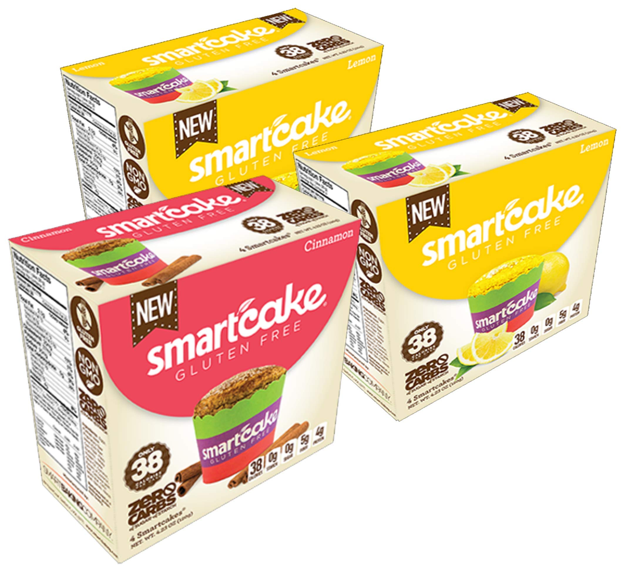 SMARTCAKE BUNDLE HAS 2x LEMON SMARTCAEK BOXES and 1x CINNAMON SMARTCAKE BOX, THEY ARE GLUTEN FREE, SUGAR FREE, LOW CARB SNACK CAKES: 6x twin packs (12 individual cakes)