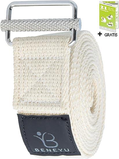 beneyu® Innovador Correa Yoga | Largo Cinturon Yoga - Made in Germany | Cómodo Algodón 100% con un Nuevo Cierre Metálico Antideslizante | Yoga & Pilates | 250x3,8cm | +PDF: Amazon.es: Deportes y aire libre