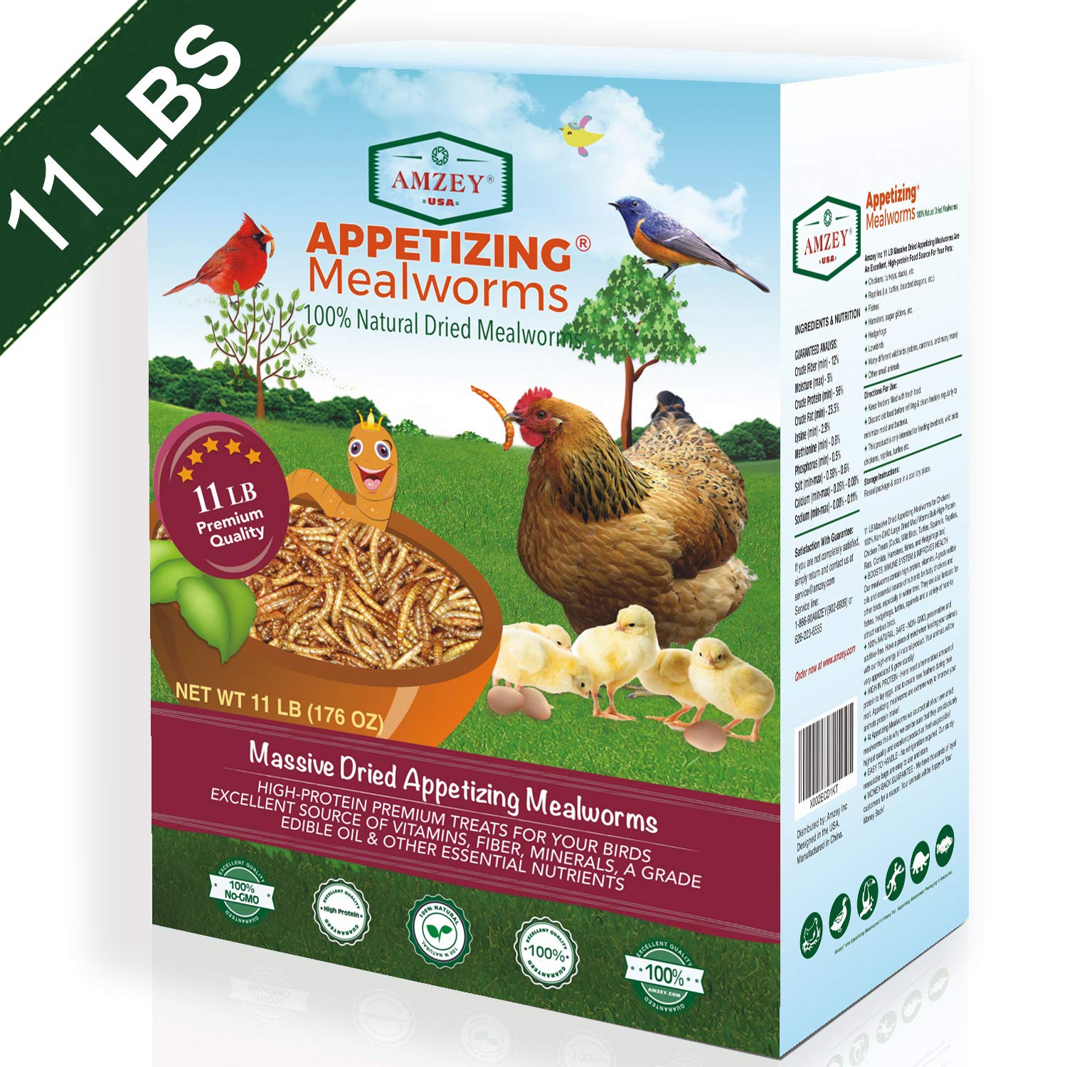 Dried Mealworms 11 LBS – 100% Natural for Chicken Feed, Bird Food, Fish Food, Turtle Food, Duck Food, Reptile Food, Non…