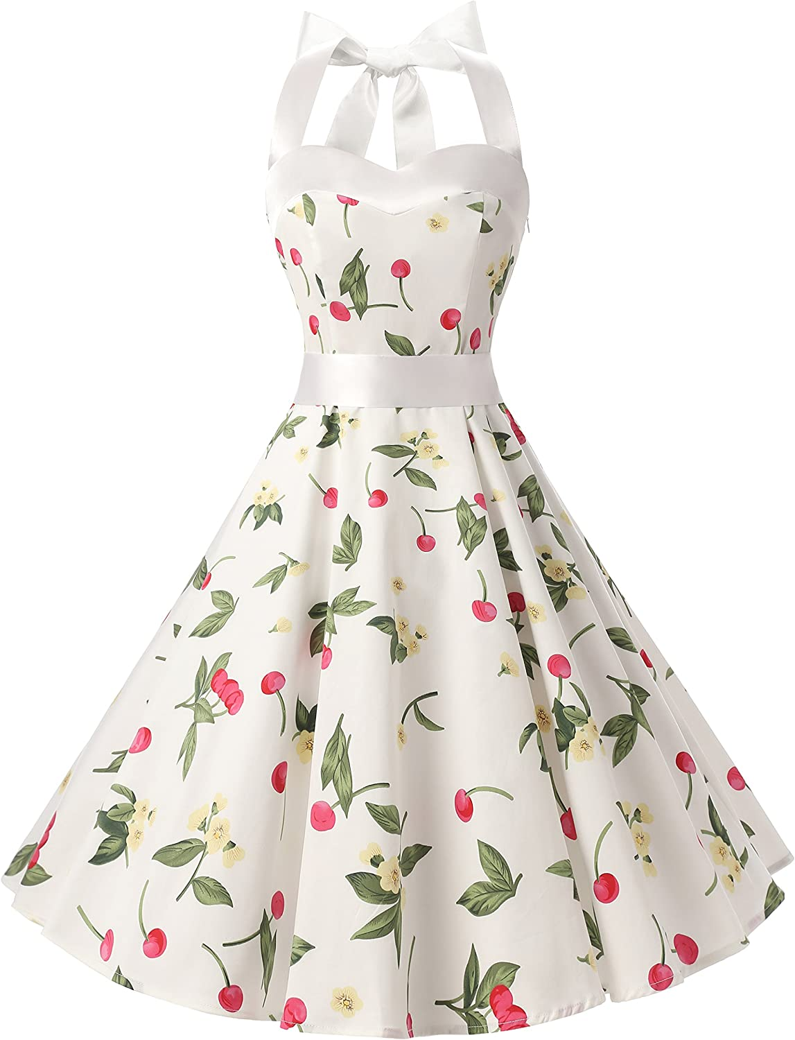 TALLA 3XL. Dresstells® Halter 50s Rockabilly Polka Dots Audrey Dress Retro Cocktail Dress White Small Cherry 3XL