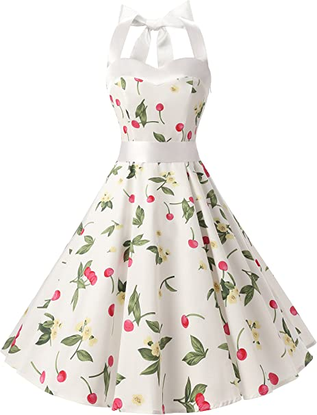 TALLA XS. Dresstells® Halter 50s Rockabilly Polka Dots Audrey Dress Retro Cocktail Dress White Small Cherry XS
