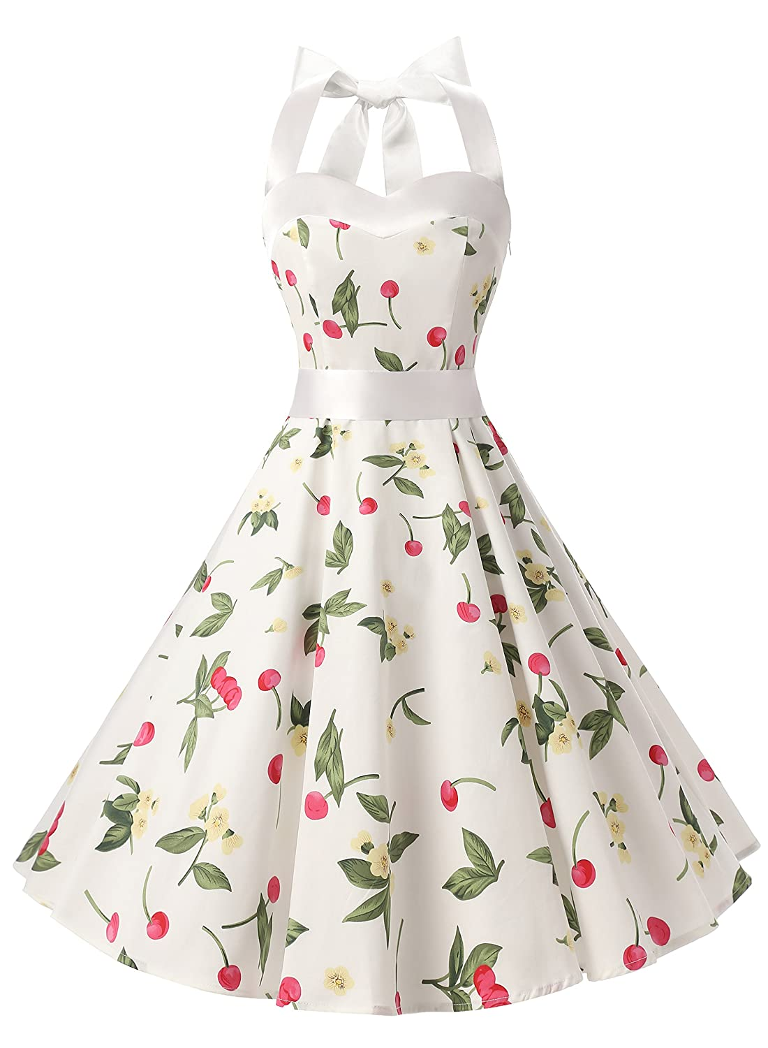 TALLA M. Dresstells® Halter 50s Rockabilly Polka Dots Audrey Dress Retro Cocktail Dress White Small Cherry M