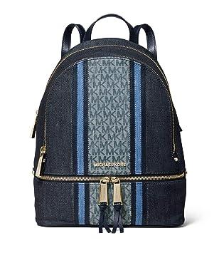 5fc9c8b2cb20 Amazon.com | Michael Kors Rhea Medium Zip Denim Logo Backpack in Denim  Multi | Casual Daypacks