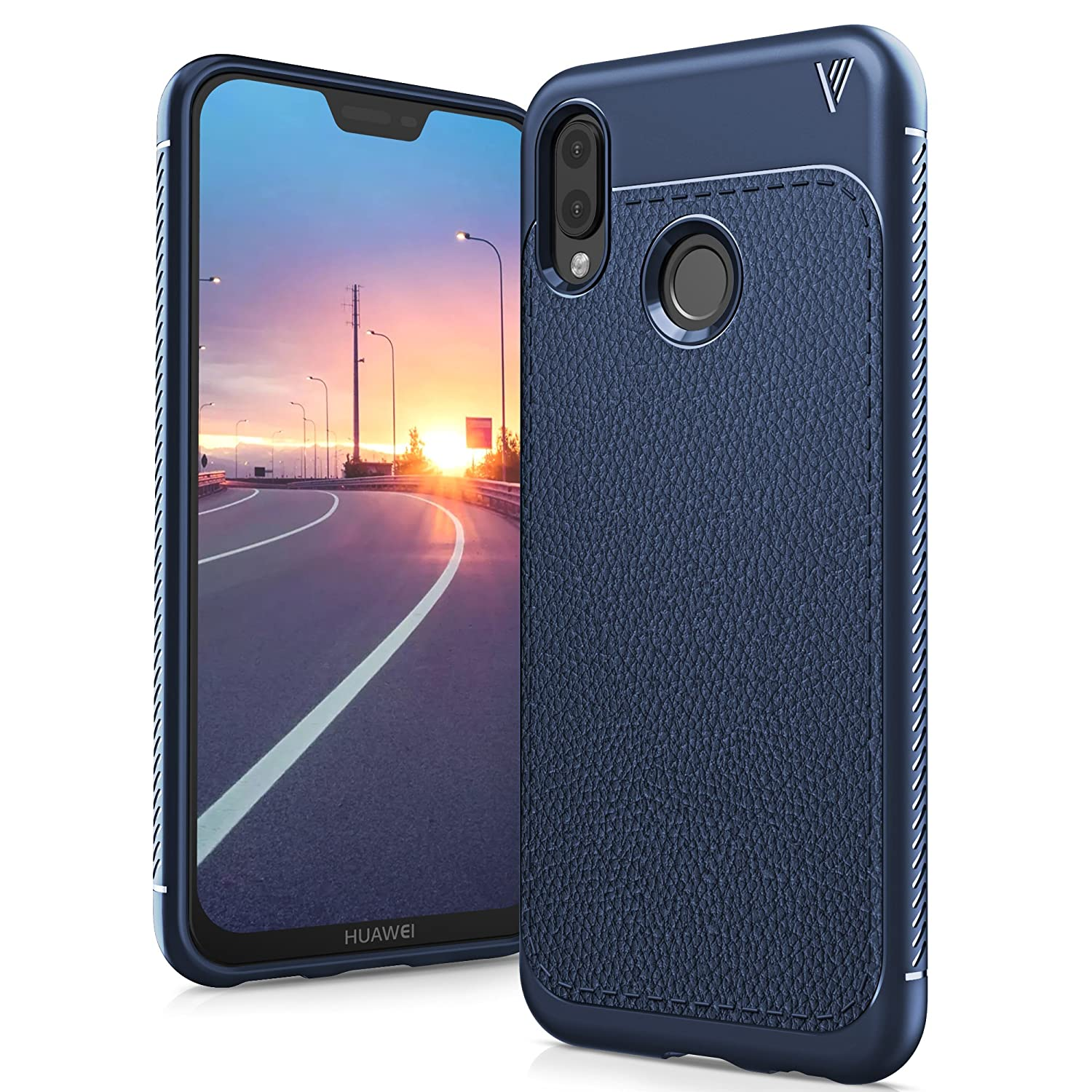 "Huawei P20 Lite Cover, Slim and Soft Protective Case in Litchi Texture Silicone TPU for Huawei P20 Lite 5.84 ""Smartphone, Litchi Indigo"