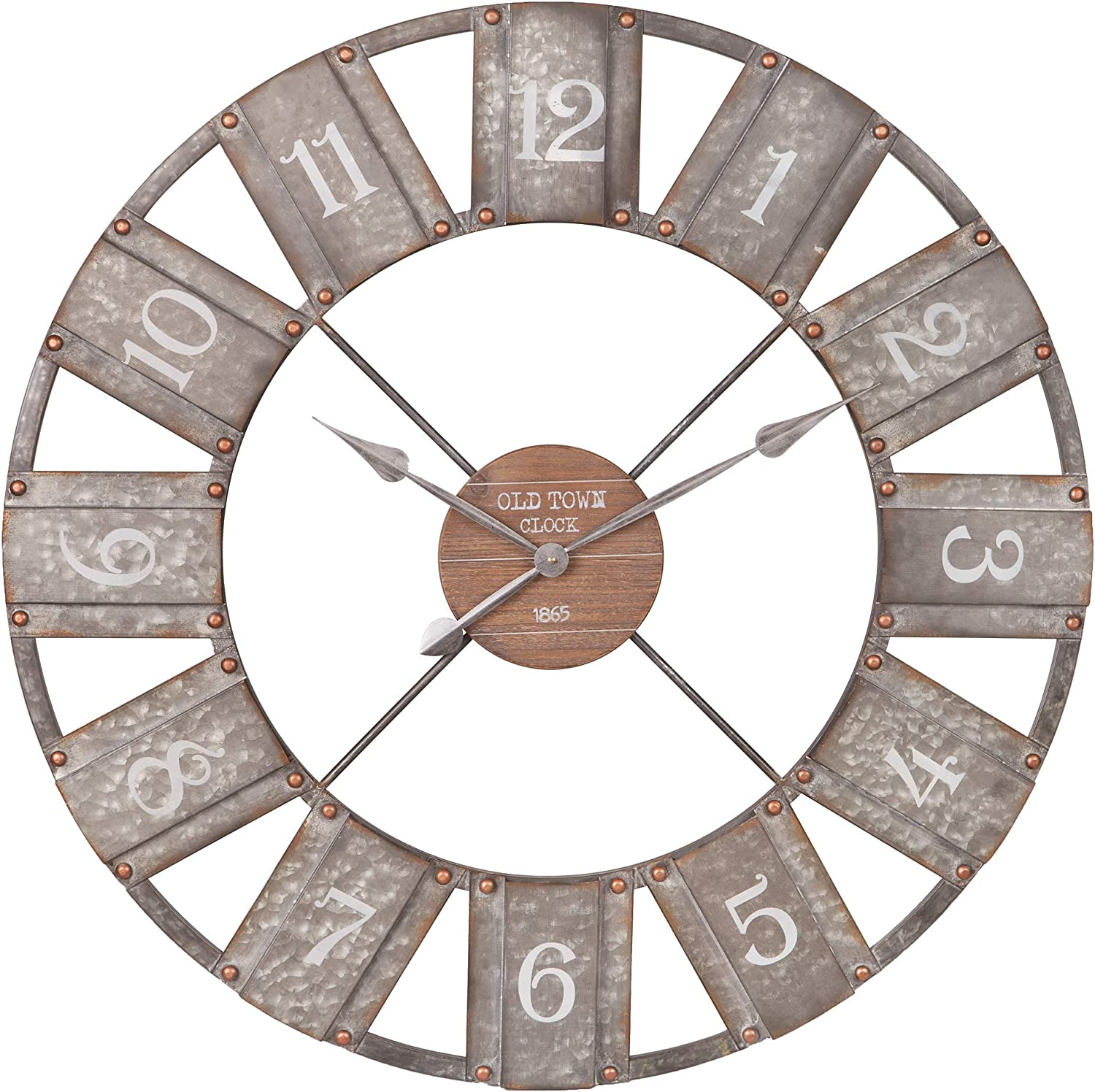 "36"" Galvanized Metal and Wood Windmill Clock"
