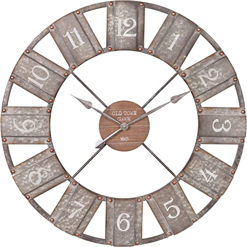 36″ Galvanized Metal and Wood Windmill Clock