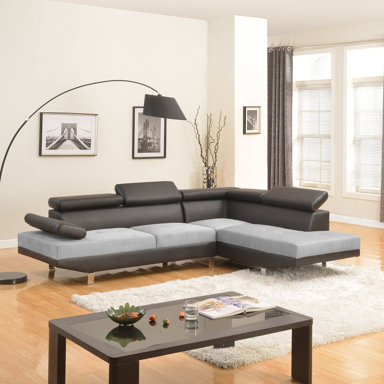 Divano Roma Furniture Modern Contemporary Designed Two Tone Microfiber and  Bonded Leather Sectional Sofa, Large, Black/Grey