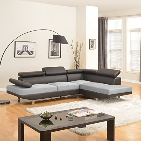 Modern Contemporary Designed Two Tone Microfiber and Bonded Leather Sectional Sofa (Black/Grey)  sc 1 st  Amazon.com : two tone sectional - Sectionals, Sofas & Couches