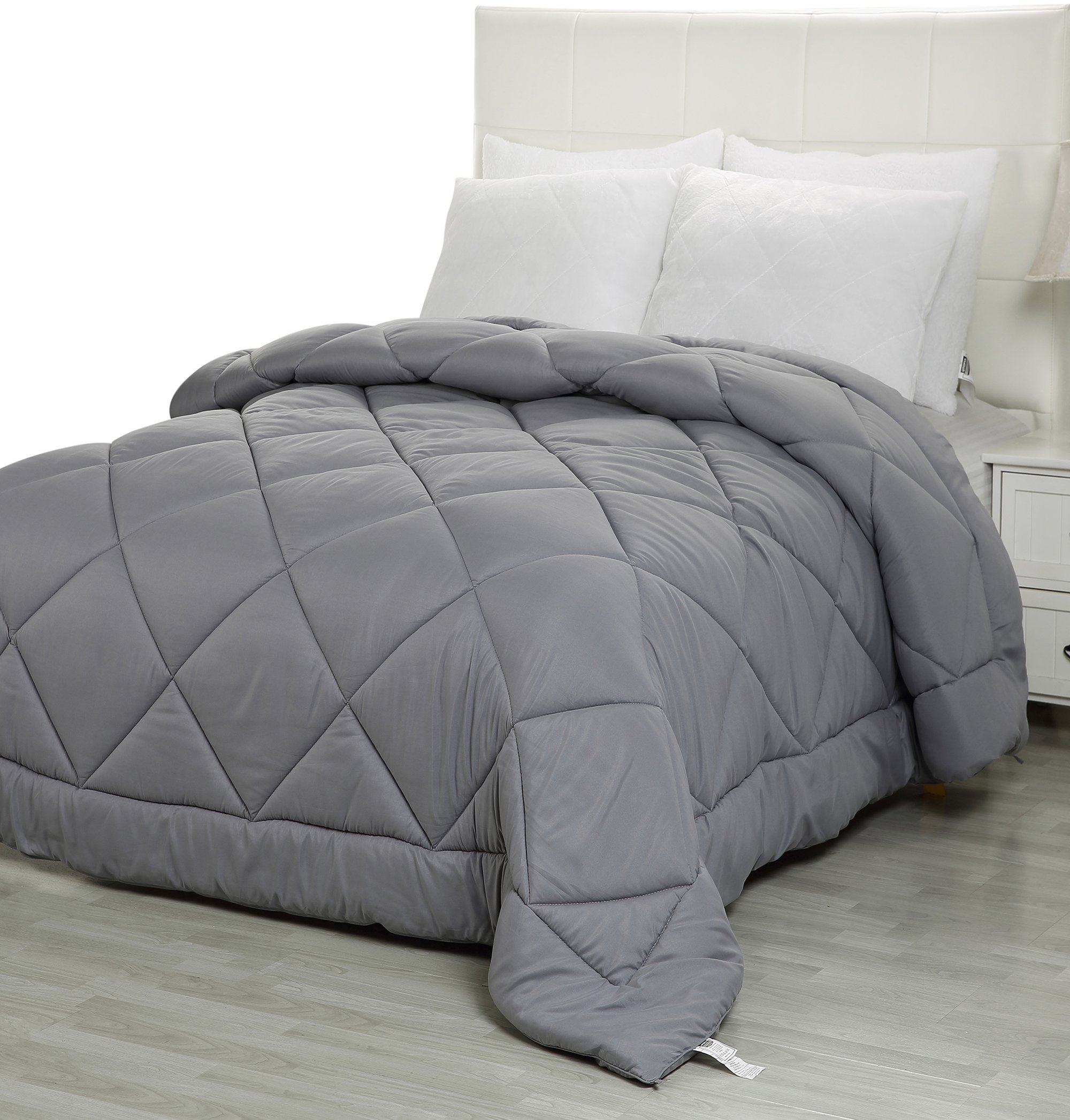 Utopia Bedding Queen Comforter Duvet Insert Grey - Quilted Comforter Corner Tabs - Plush Siliconized Fiberfill, Box Stitched Down Alternative Comforter, Machine Washable