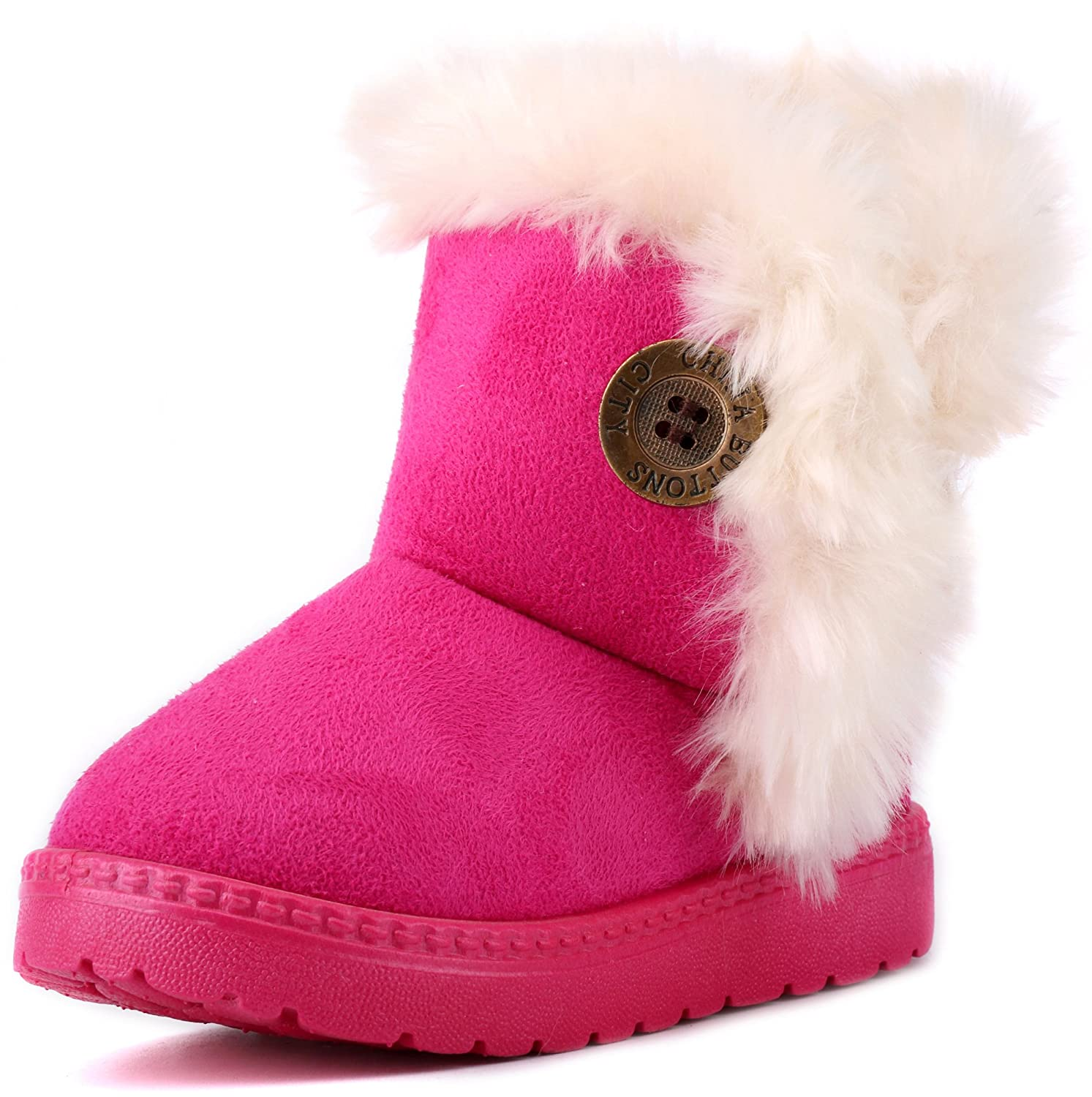 89f5fc59f LONSOEN Toddler Girls Boots Fur Lined Winter Boots Shoes(Toddler/Little Kid)
