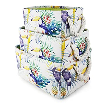 Chic Canvas Fabric Storage Bins With Strong Cotton Rope Handles,Collapsible  Strong Cube Organizer Basket