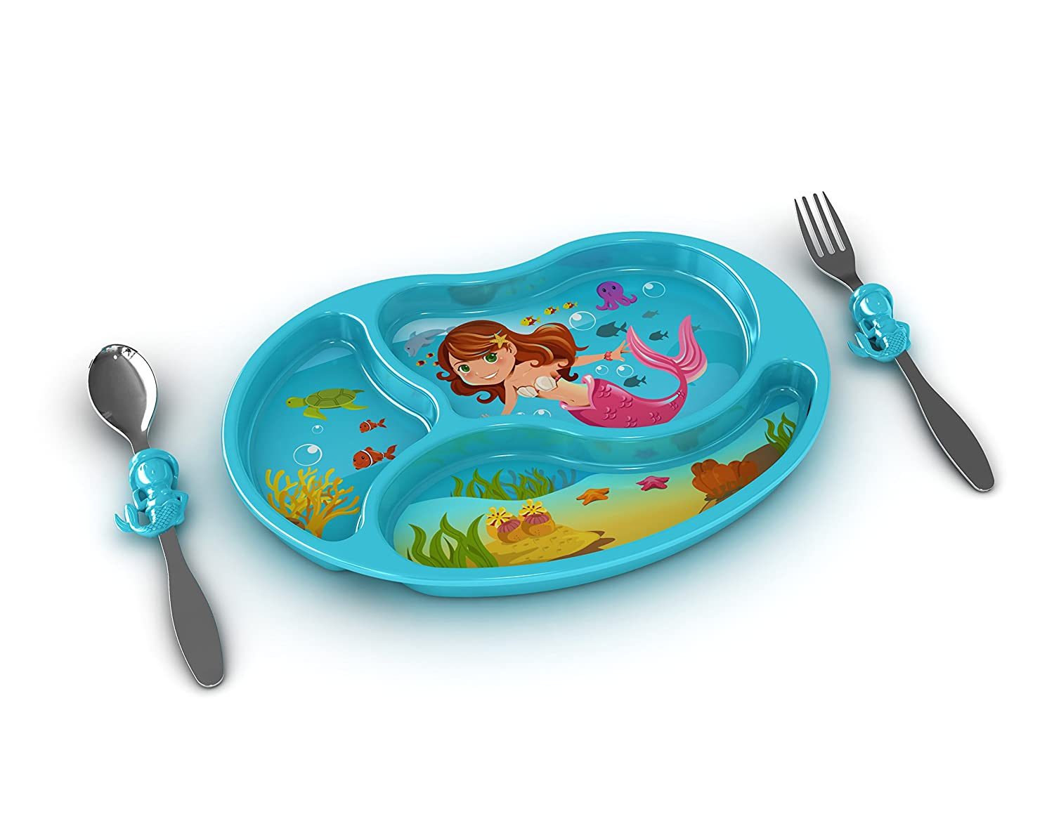 Plate Sparks Your Childs Imagination and Teaches Portion Control - 3-Piece Set for Kids and Toddlers Fork and Spoon That Children Love KidsFunwares Me Time PP Dinnerware Set Mermaid