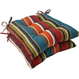 """Pillow Perfect Outdoor/Indoor Westport Teal Tufted Seat Cushions (Square Back), 19"""" x 18.5"""", Stripe, 2 Count"""