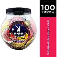 Playboy Condoms Vitrolero con 100 Condones Aroma y Sabor