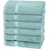 Pinzon Organic Cotton Hand Towels, Set of 6, Spa Blue