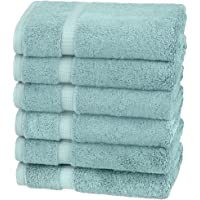Pinzon Organic Cotton Hand Towels (6 Pack), Spa Blue