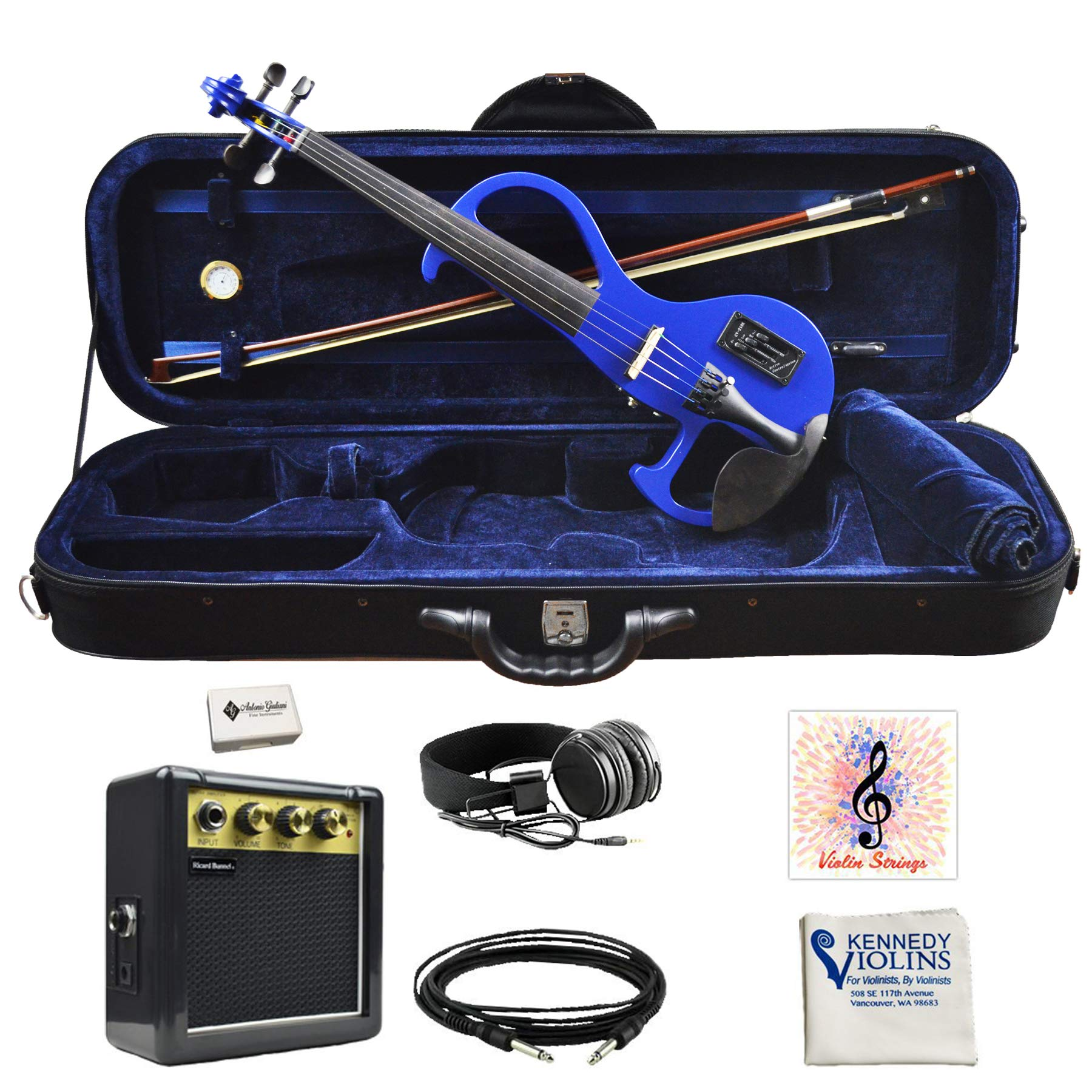 Bunnel EDGE Clearance Electric Violin Outfit Bombshell Blue Amp Included BE300 by Kennedy Violins