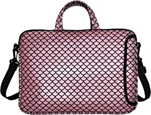 "14-Inch Laptop Shoulder Carrying Bag Case Sleeve For 13"" 13.3"" 14 inch Macbook/Notebook/Ultrabook/Chromebook, Mermaid Scale (Pink)"