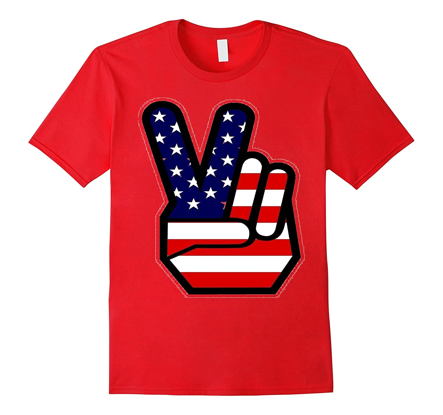 4th of July Shirt USA American Flag Peace Sign Hand Kids-BN