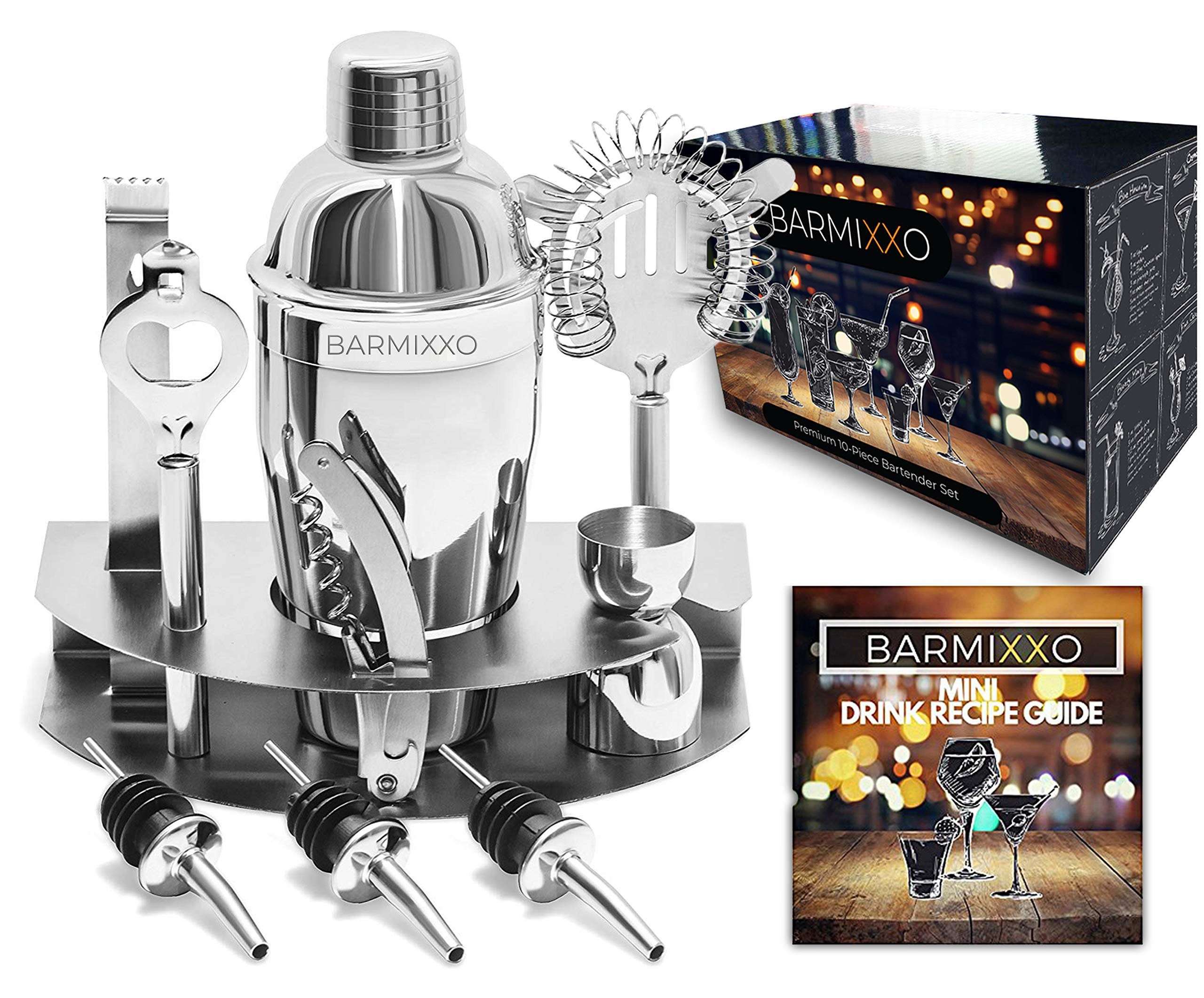 Home Cocktail Bar Set by BARMIXXO – Stainless Steel 10 Piece Mixology Tool Kit – With Bartender's Professional Shaker, Strainer, Jigger, Liquor Pourers and More/Mini Guide and 150 + Recipe EBOOK
