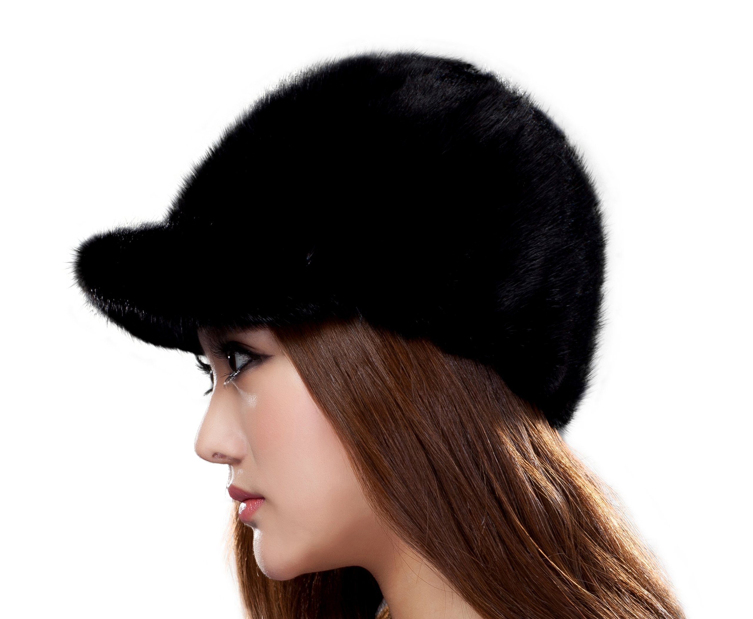 URSFUR Women's Mink Fur Newsboy Caps Casquette Hunting Cap SD30 (Coffee) by URSFUR